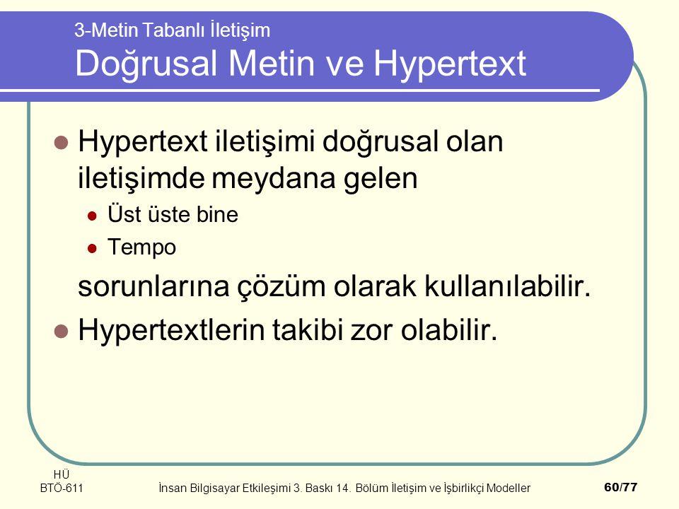 HÜ BTÖ-611İnsan Bilgisayar Etkileşimi 3. Baskı 14. Bölüm İletişim ve İşbirlikçi Modeller60/77 3-Metin Tabanlı İletişim Doğrusal Metin ve Hypertext Hyp