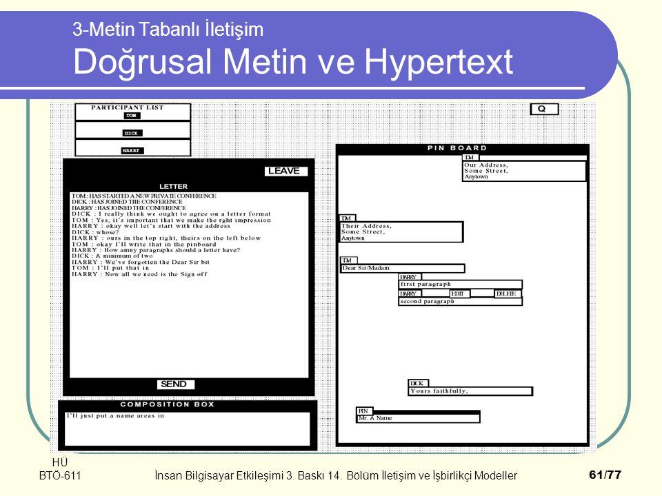 HÜ BTÖ-611İnsan Bilgisayar Etkileşimi 3. Baskı 14. Bölüm İletişim ve İşbirlikçi Modeller61/77 3-Metin Tabanlı İletişim Doğrusal Metin ve Hypertext