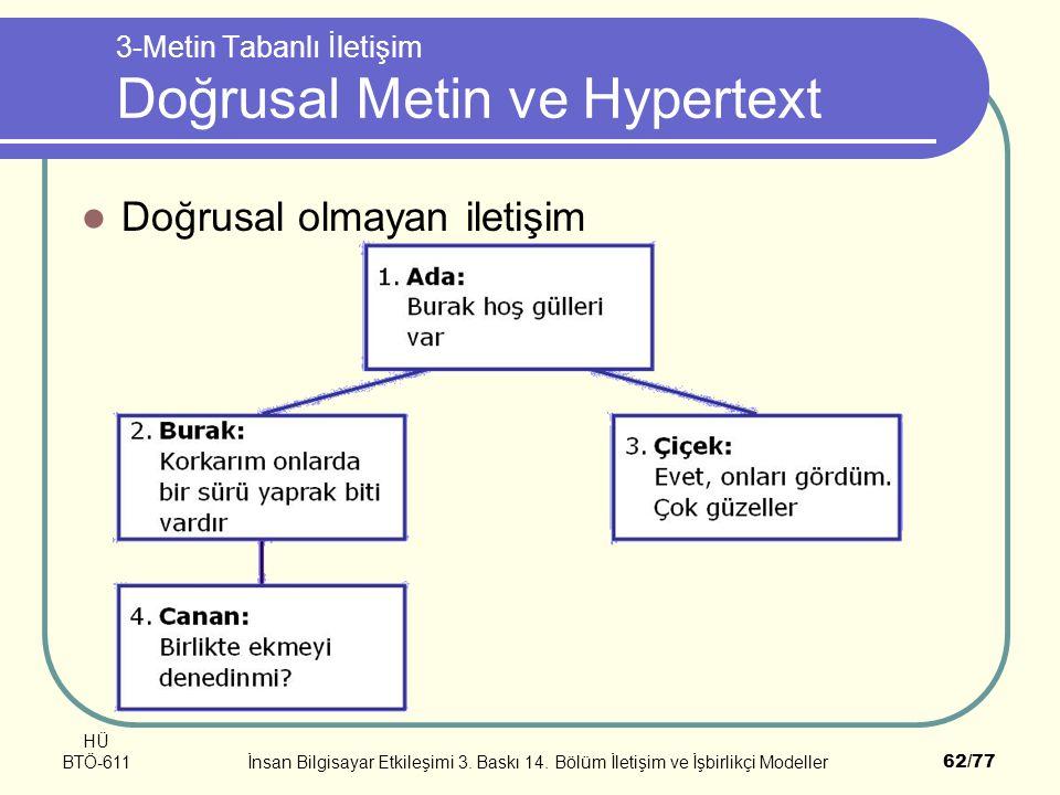 HÜ BTÖ-611İnsan Bilgisayar Etkileşimi 3. Baskı 14. Bölüm İletişim ve İşbirlikçi Modeller62/77 3-Metin Tabanlı İletişim Doğrusal Metin ve Hypertext Doğ