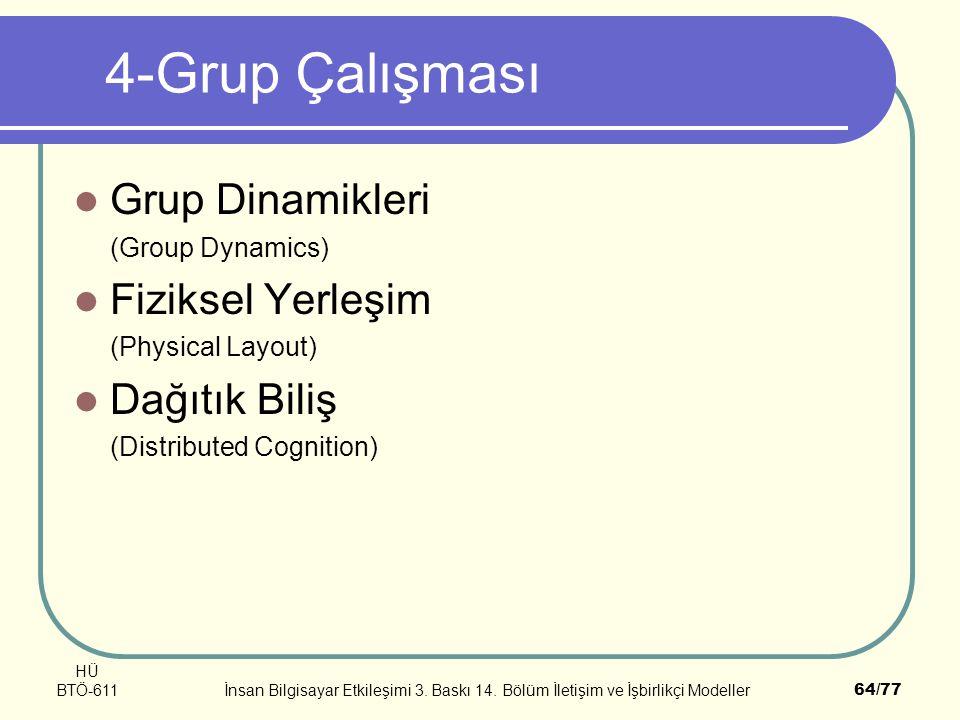 HÜ BTÖ-611İnsan Bilgisayar Etkileşimi 3. Baskı 14. Bölüm İletişim ve İşbirlikçi Modeller64/77 4-Grup Çalışması Grup Dinamikleri (Group Dynamics) Fizik