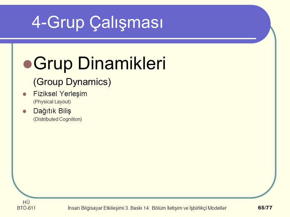 HÜ BTÖ-611İnsan Bilgisayar Etkileşimi 3. Baskı 14. Bölüm İletişim ve İşbirlikçi Modeller65/77 4-Grup Çalışması Grup Dinamikleri (Group Dynamics) Fizik