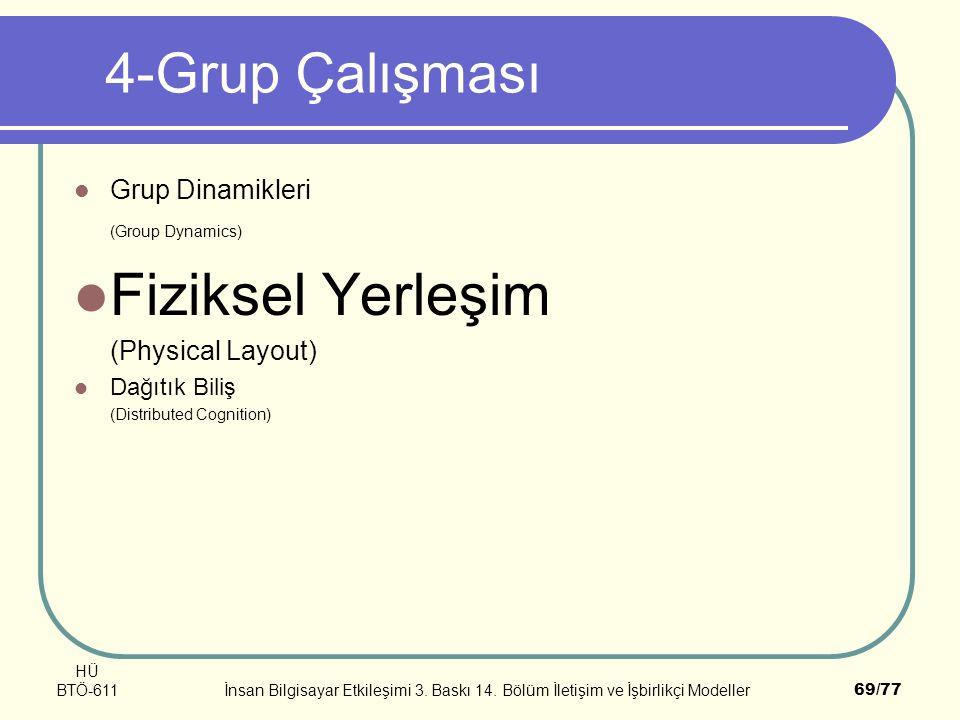 HÜ BTÖ-611İnsan Bilgisayar Etkileşimi 3. Baskı 14. Bölüm İletişim ve İşbirlikçi Modeller69/77 4-Grup Çalışması Grup Dinamikleri (Group Dynamics) Fizik