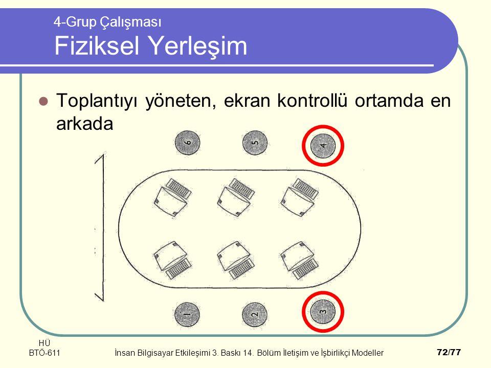 HÜ BTÖ-611İnsan Bilgisayar Etkileşimi 3. Baskı 14. Bölüm İletişim ve İşbirlikçi Modeller72/77 4-Grup Çalışması Fiziksel Yerleşim Toplantıyı yöneten, e