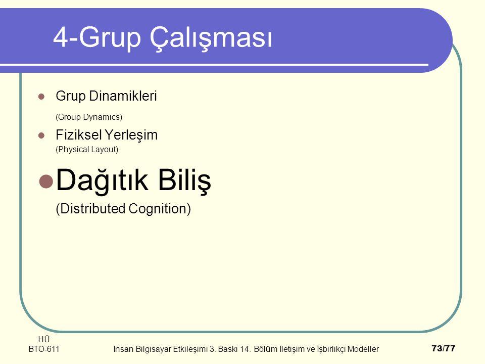 HÜ BTÖ-611İnsan Bilgisayar Etkileşimi 3. Baskı 14. Bölüm İletişim ve İşbirlikçi Modeller73/77 4-Grup Çalışması Grup Dinamikleri (Group Dynamics) Fizik