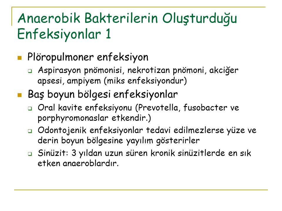 Anaerobik Bakterilerin Oluşturduğu Enfeksiyonlar 1 Plöropulmoner enfeksiyon  Aspirasyon pnömonisi, nekrotizan pnömoni, akciğer apsesi, ampiyem (miks