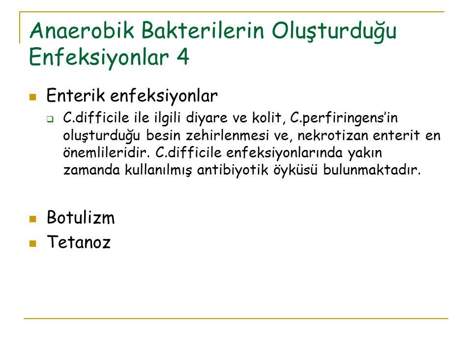 Anaerobik Bakterilerin Oluşturduğu Enfeksiyonlar 4 Enterik enfeksiyonlar  C.difficile ile ilgili diyare ve kolit, C.perfiringens'in oluşturduğu besin