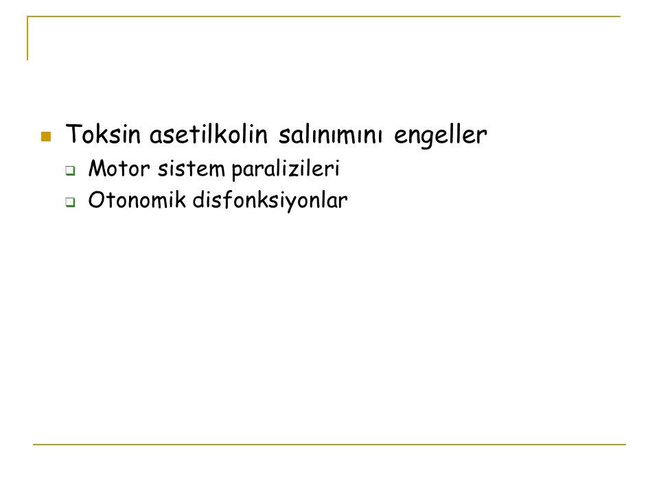 Toksin asetilkolin salınımını engeller  Motor sistem paralizileri  Otonomik disfonksiyonlar