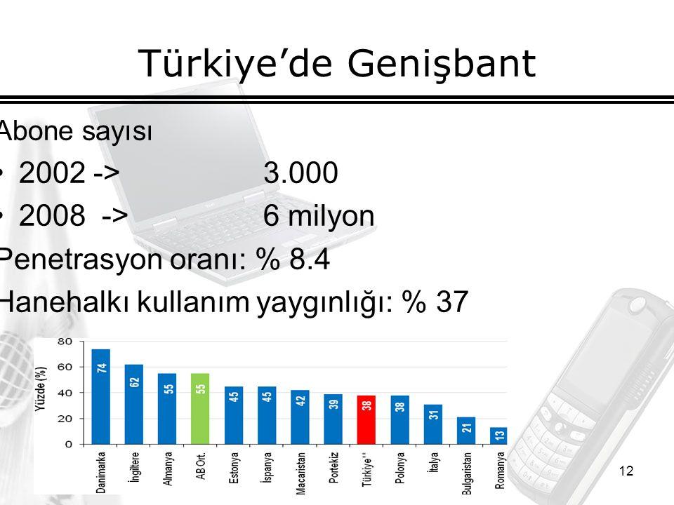 12 Türkiye'de Genişbant Abone sayısı 2002 ->3.000 2008 ->6 milyon Penetrasyon oranı: % 8.4 Hanehalkı kullanım yaygınlığı: % 37