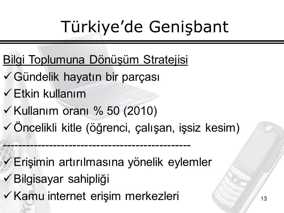 13 Türkiye'de Genişbant Bilgi Toplumuna Dönüşüm Stratejisi Gündelik hayatın bir parçası Etkin kullanım Kullanım oranı % 50 (2010) Öncelikli kitle (öğrenci, çalışan, işsiz kesim) ------------------------------------------------ Erişimin artırılmasına yönelik eylemler Bilgisayar sahipliği Kamu internet erişim merkezleri