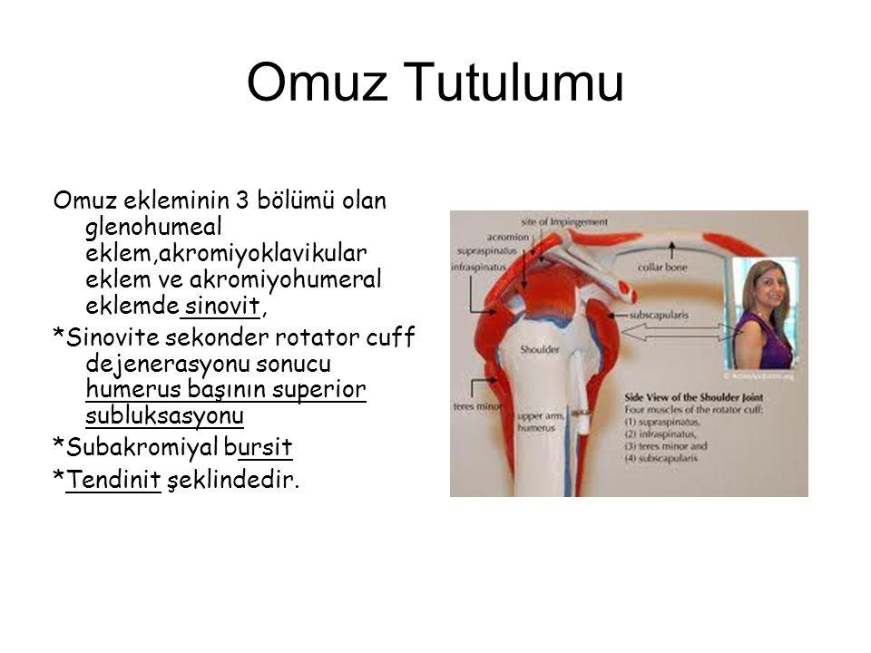 Omuz Tutulumu Omuz ekleminin 3 bölümü olan glenohumeal eklem,akromiyoklavikular eklem ve akromiyohumeral eklemde sinovit, *Sinovite sekonder rotator c