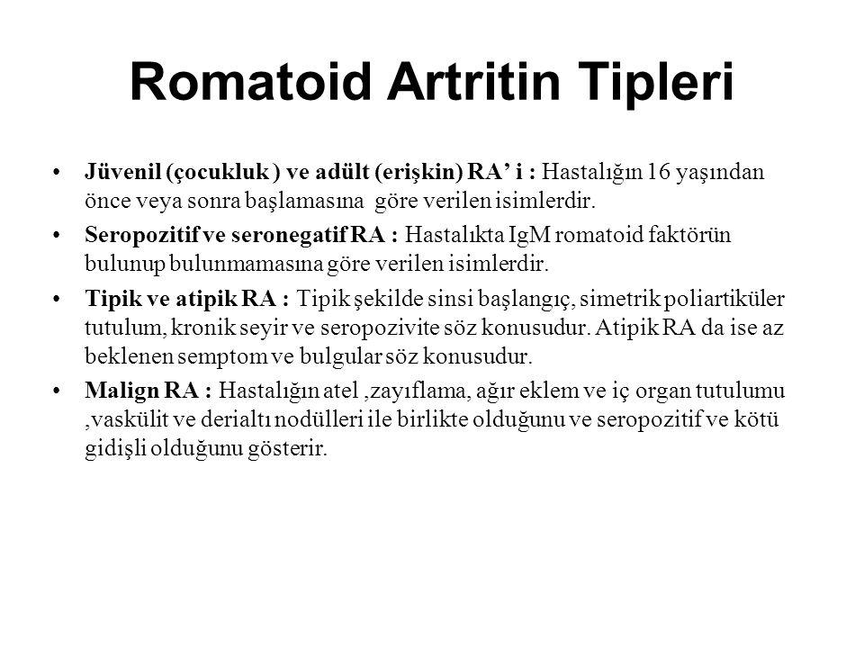 Romatoid Artritin Tipleri Jüvenil (çocukluk ) ve adült (erişkin) RA' i : Hastalığın 16 yaşından önce veya sonra başlamasına göre verilen isimlerdir. S