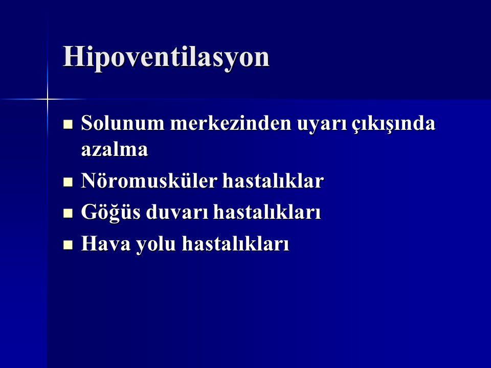 Hipoventilasyon Solunum merkezinden uyarı çıkışında azalma Solunum merkezinden uyarı çıkışında azalma Nöromusküler hastalıklar Nöromusküler hastalıkla