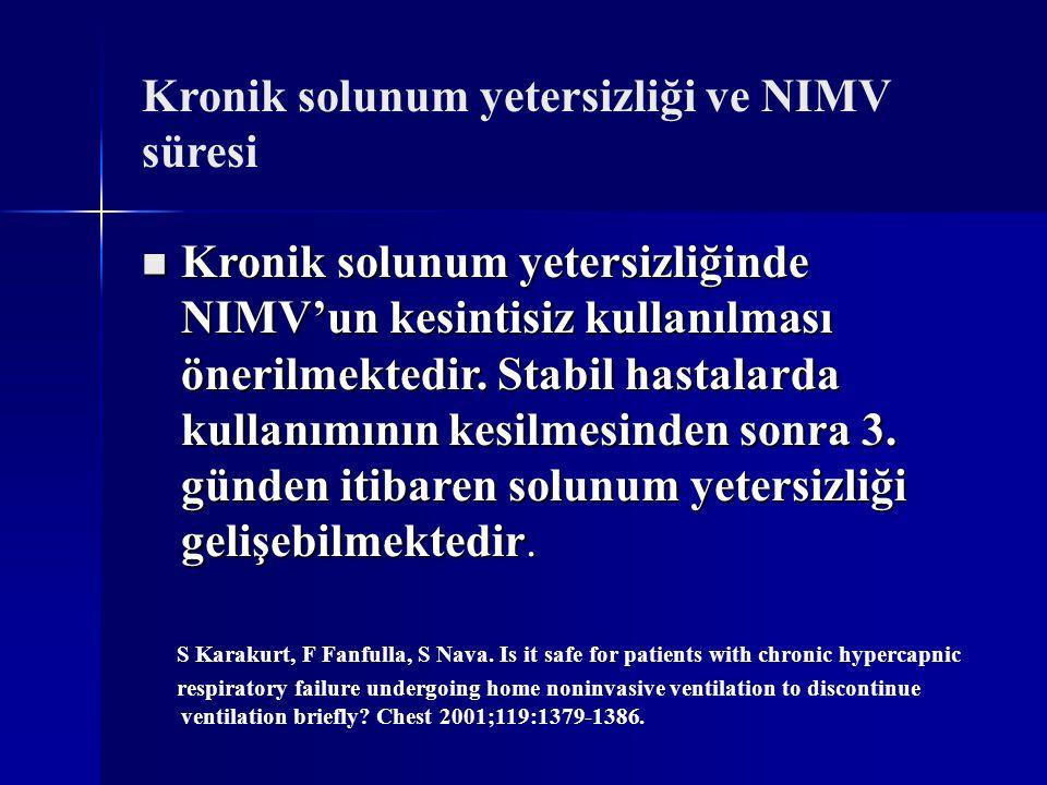 Kronik solunum yetersizliği ve NIMV süresi Kronik solunum yetersizliğinde NIMV'un kesintisiz kullanılması önerilmektedir. Stabil hastalarda kullanımın