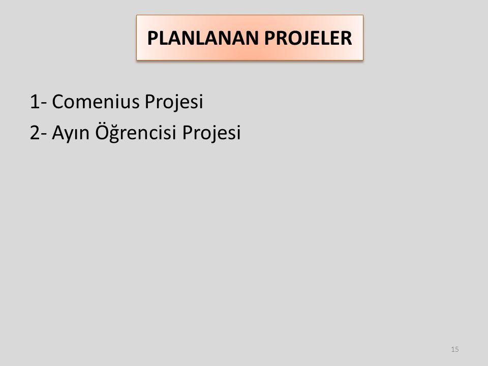 PLANLANAN PROJELER 1- Comenius Projesi 2- Ayın Öğrencisi Projesi 15