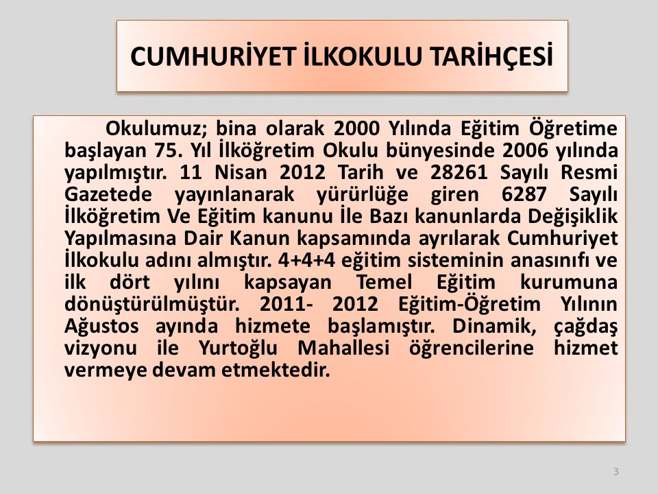 OKULUMUZ HAKKINDA Kurum Kodu:718268 Kurum Adı:Cumhuriyet İlkokulu Telefon:232 271 92 93 Belgegeçer:232 271 9293 WEB Adresi: http://kbaglarcumhuriyetio.meb.k12.tr http://kbaglarcumhuriyetio.meb.k12.tr kbaglarcumhuriyetio@hotmail.com Adres:Yurtoğlu Mah.