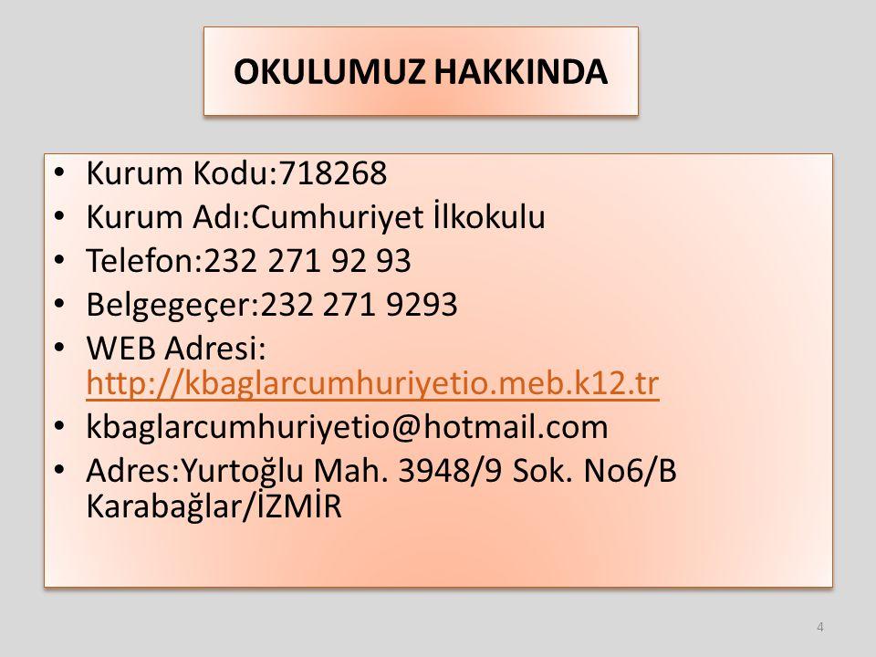 OKULUMUZ HAKKINDA Kurum Kodu:718268 Kurum Adı:Cumhuriyet İlkokulu Telefon:232 271 92 93 Belgegeçer:232 271 9293 WEB Adresi: http://kbaglarcumhuriyetio