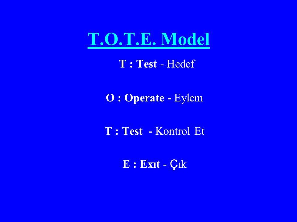 T.O.T.E. Model T : Test - Hedef O : Operate - Eylem T : Test - Kontrol Et E : Exıt - Ç ık