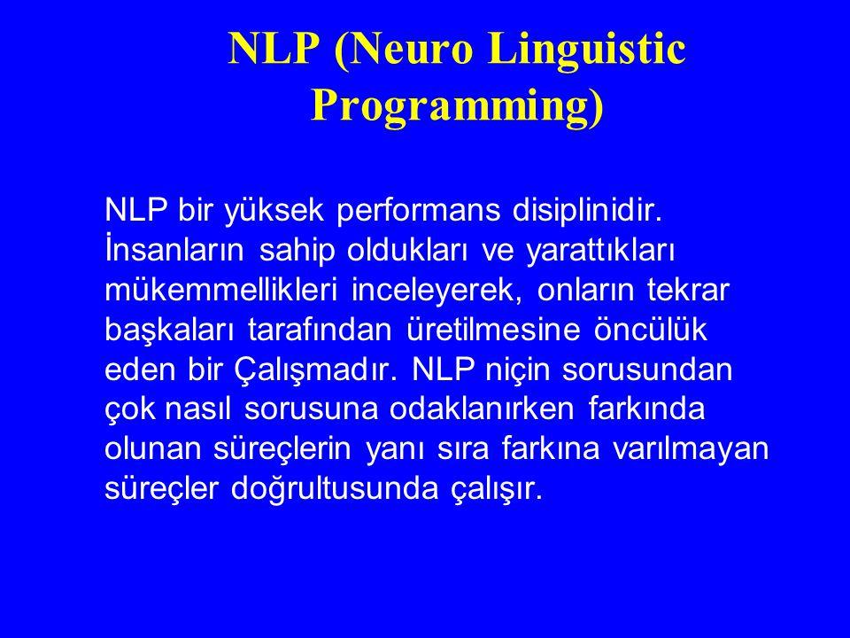 NLP (Neuro Linguistic Programming) NLP bir yüksek performans disiplinidir. İnsanların sahip oldukları ve yarattıkları mükemmellikleri inceleyerek, onl