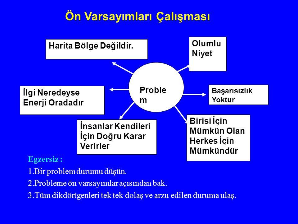 Egzersiz : 1.Bir problem durumu düşün. 2.Probleme ön varsayımlar açısından bak. 3.Tüm dikdörtgenleri tek tek dolaş ve arzu edilen duruma ulaş. Ön Vars
