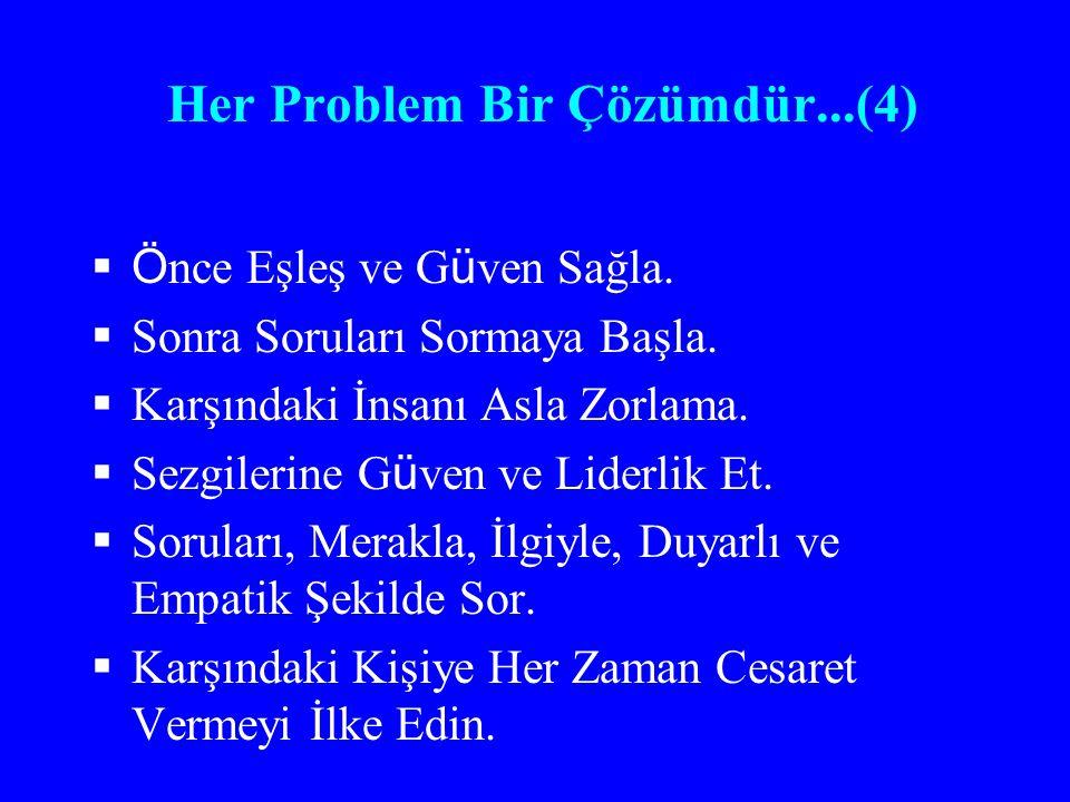 Her Problem Bir Çözümdür...(4)  Ö nce Eşleş ve G ü ven Sağla.  Sonra Soruları Sormaya Başla.  Karşındaki İnsanı Asla Zorlama.  Sezgilerine G ü ven