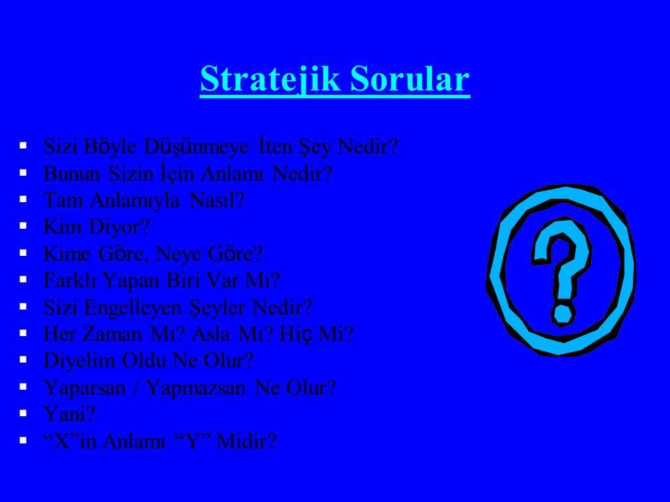 Stratejik Sorular  Sizi B ö yle D ü ş ü nmeye İten Şey Nedir?  Bunun Sizin İçin Anlamı Nedir?  Tam Anlamıyla Nasıl?  Kim Diyor?  Kime G ö re, Ney