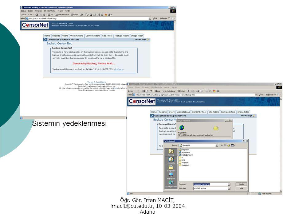 Öğr. Gör. İrfan MACİT, imacit@cu.edu.tr, 10-03-2004 Adana Sistemin yedeklenmesi