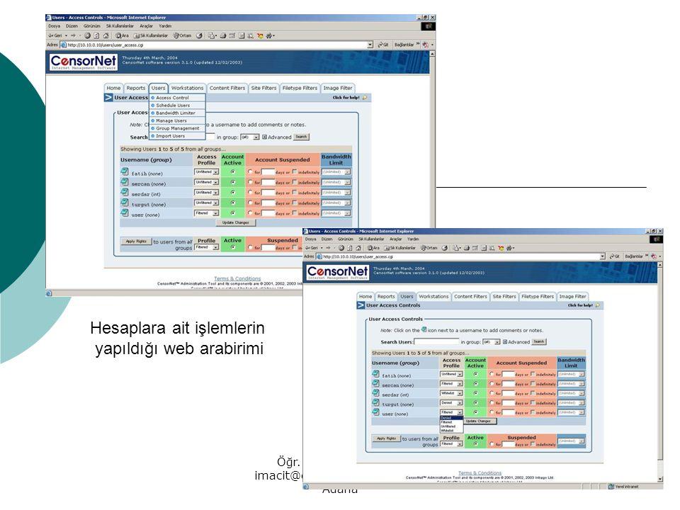 Öğr. Gör. İrfan MACİT, imacit@cu.edu.tr, 10-03-2004 Adana Hesaplara ait işlemlerin yapıldığı web arabirimi