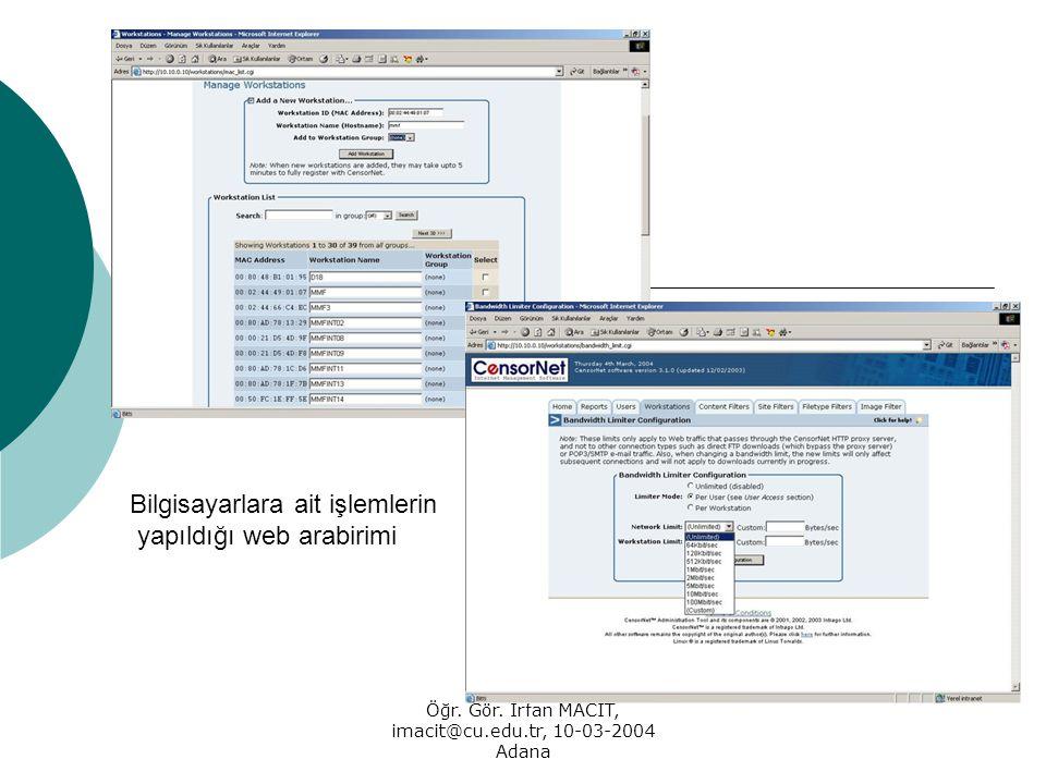 Öğr. Gör. İrfan MACİT, imacit@cu.edu.tr, 10-03-2004 Adana Bilgisayarlara ait işlemlerin yapıldığı web arabirimi