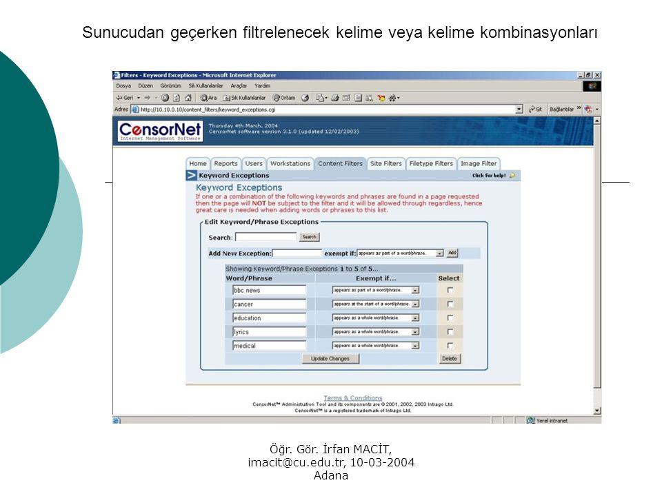 Öğr. Gör. İrfan MACİT, imacit@cu.edu.tr, 10-03-2004 Adana Sunucudan geçerken filtrelenecek kelime veya kelime kombinasyonları