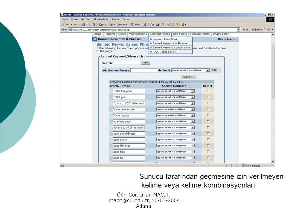 Öğr. Gör. İrfan MACİT, imacit@cu.edu.tr, 10-03-2004 Adana Sunucu tarafından geçmesine izin verilmeyen kelime veya kelime kombinasyonları