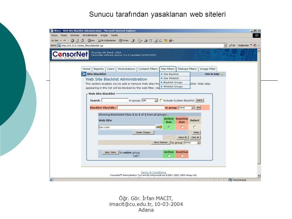 Öğr. Gör. İrfan MACİT, imacit@cu.edu.tr, 10-03-2004 Adana Sunucu tarafından yasaklanan web siteleri