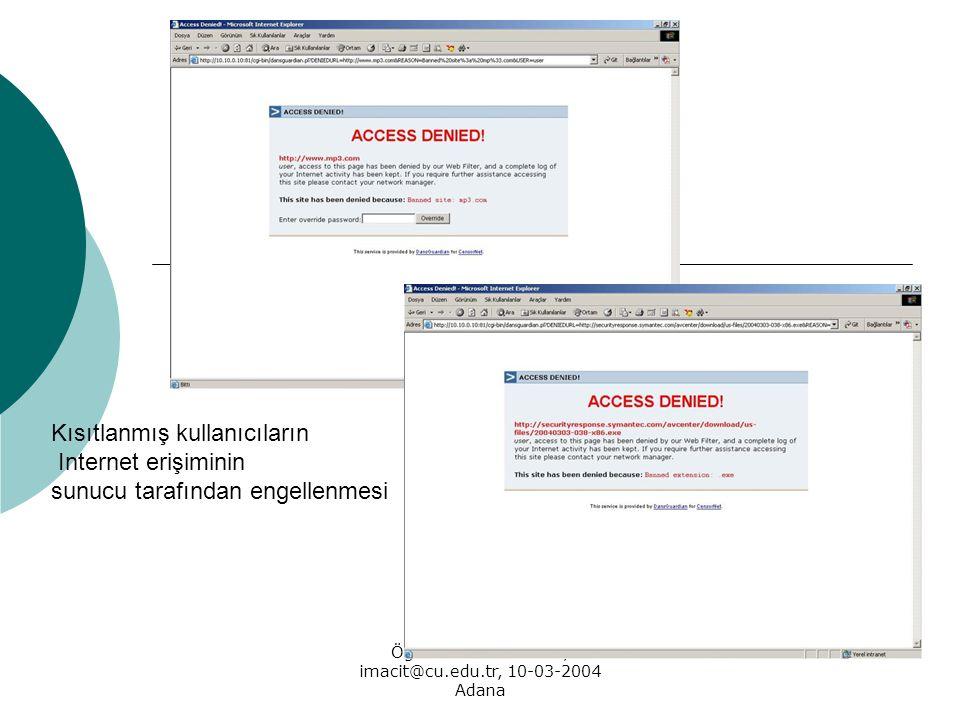 Öğr. Gör. İrfan MACİT, imacit@cu.edu.tr, 10-03-2004 Adana Kısıtlanmış kullanıcıların Internet erişiminin sunucu tarafından engellenmesi