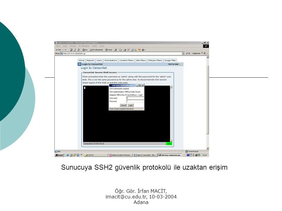 Öğr. Gör. İrfan MACİT, imacit@cu.edu.tr, 10-03-2004 Adana Sunucuya SSH2 güvenlik protokolü ile uzaktan erişim