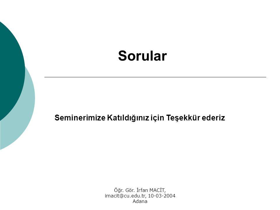 Öğr. Gör. İrfan MACİT, imacit@cu.edu.tr, 10-03-2004 Adana Sorular Seminerimize Katıldığınız için Teşekkür ederiz