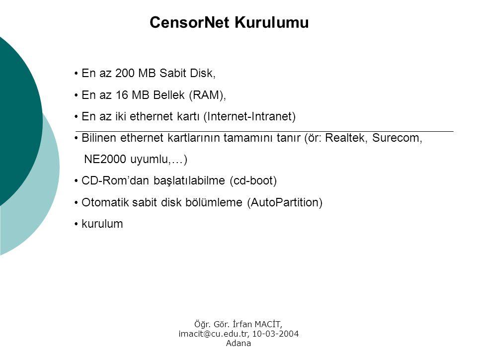 Öğr. Gör. İrfan MACİT, imacit@cu.edu.tr, 10-03-2004 Adana CensorNet Kurulumu En az 200 MB Sabit Disk, En az 16 MB Bellek (RAM), En az iki ethernet kar