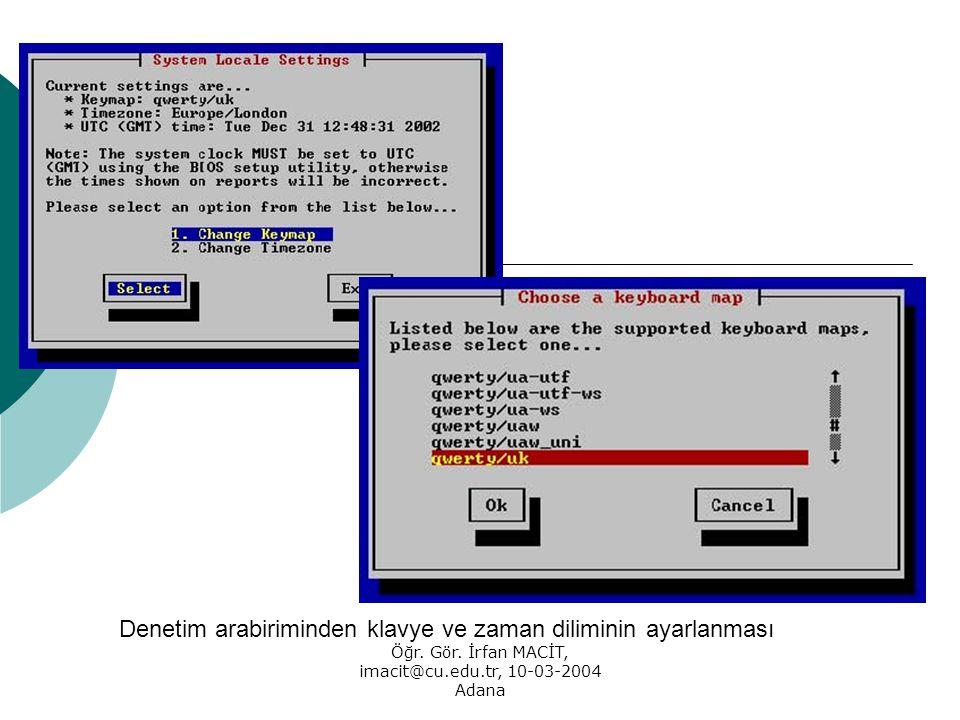 Öğr. Gör. İrfan MACİT, imacit@cu.edu.tr, 10-03-2004 Adana Denetim arabiriminden klavye ve zaman diliminin ayarlanması