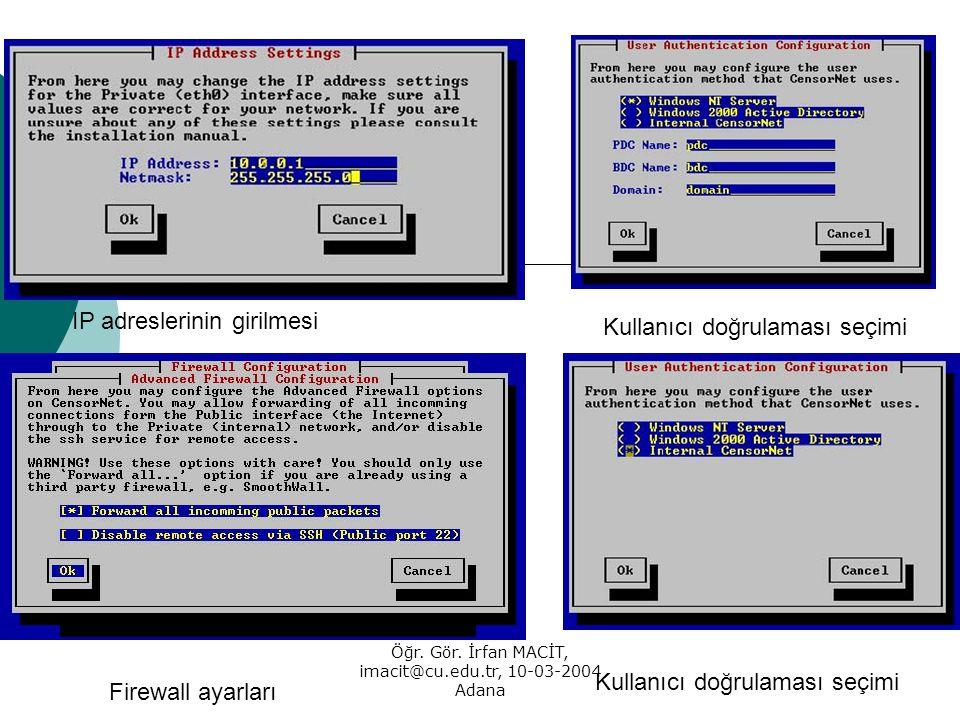 Öğr. Gör. İrfan MACİT, imacit@cu.edu.tr, 10-03-2004 Adana IP adreslerinin girilmesi Kullanıcı doğrulaması seçimi Firewall ayarları Kullanıcı doğrulama