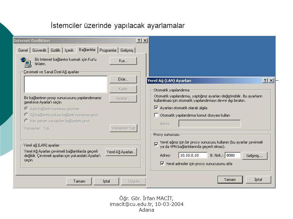 Öğr. Gör. İrfan MACİT, imacit@cu.edu.tr, 10-03-2004 Adana İstemciler üzerinde yapılacak ayarlamalar