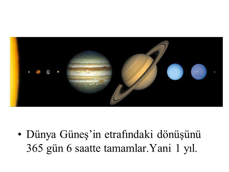 Dünya Güneş'in etrafındaki dönüşünü 365 gün 6 saatte tamamlar.Yani 1 yıl.