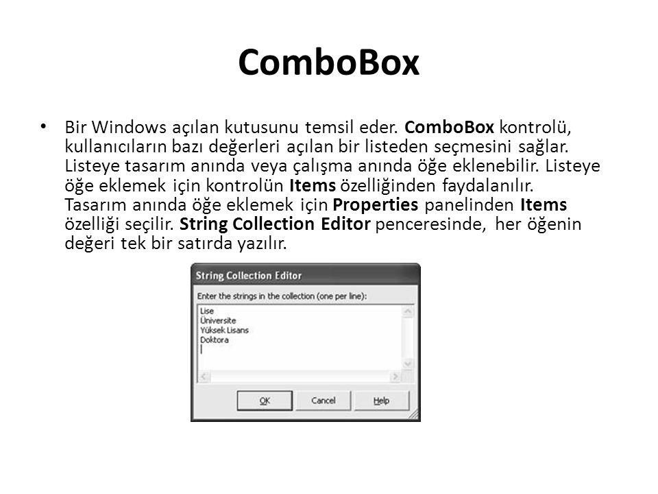 ComboBox Bir Windows açılan kutusunu temsil eder.