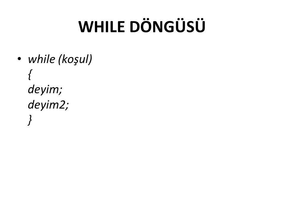 While yapısı - Örnek using System; class WhileDongusu { static void Main() { int i=1; while (i<5) { Console.WriteLine( Merhaba{0} sayısı ,i); i++; } } }