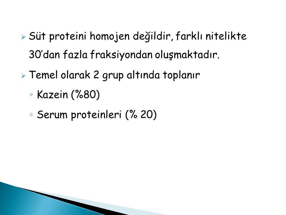  Süt proteini homojen değildir, farklı nitelikte 30'dan fazla fraksiyondan oluşmaktadır.  Temel olarak 2 grup altında toplanır ◦ Kazein (%80) ◦ Seru
