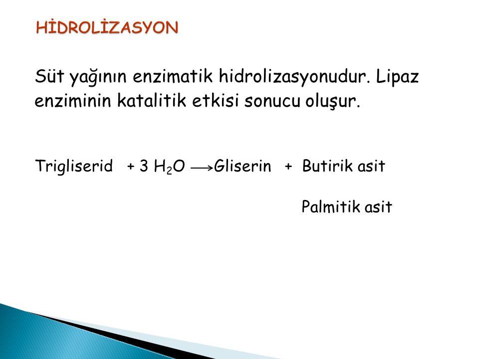 Süt yağının enzimatik hidrolizasyonudur. Lipaz enziminin katalitik etkisi sonucu oluşur. Trigliserid + 3 H 2 O Gliserin + Butirik asit Palmitik asit