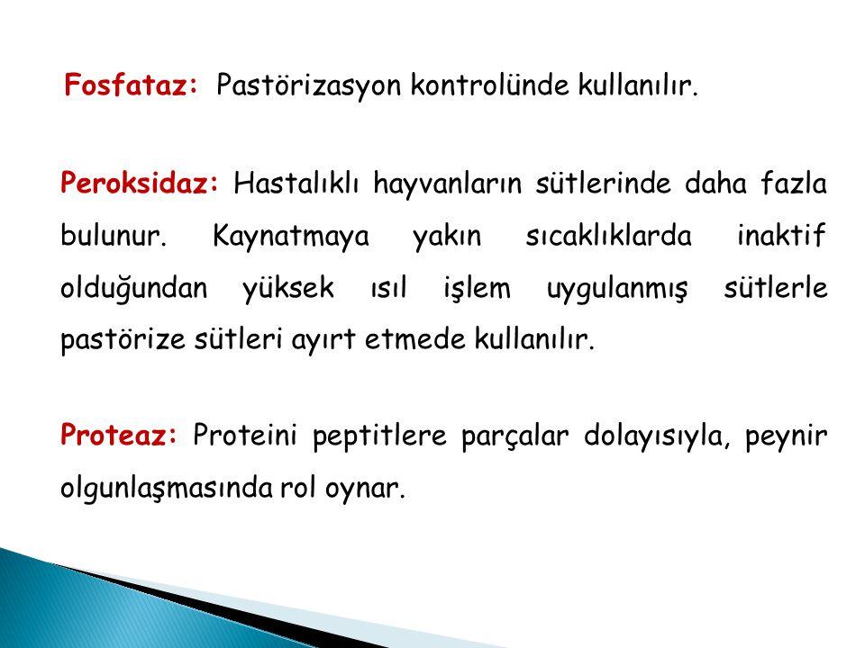 Fosfataz: Pastörizasyon kontrolünde kullanılır. Peroksidaz: Hastalıklı hayvanların sütlerinde daha fazla bulunur. Kaynatmaya yakın sıcaklıklarda inakt