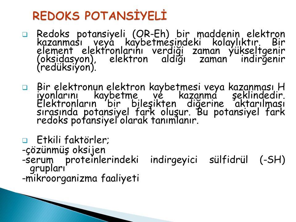  Redoks potansiyeli (OR-Eh) bir maddenin elektron kazanması veya kaybetmesindeki kolaylıktır. Bir element elektronlarını verdiği zaman yükseltgenir (