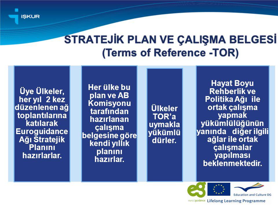 STRATEJİK PLAN VE ÇALIŞMA BELGESİ (Terms of Reference -TOR) Üye Ülkeler, her yıl 2 kez düzenlenen ağ toplantılarına katılarak Euroguidance Ağı Stratejik Planını hazırlarlar.