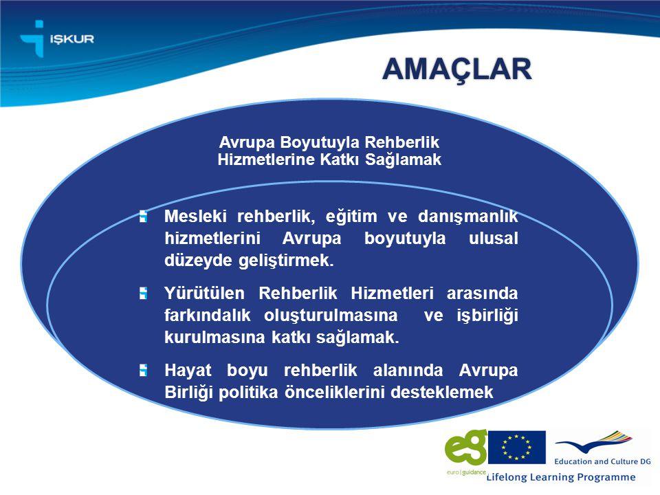 AMAÇLAR Avrupa Boyutuyla Rehberlik Hizmetlerine Katkı Sağlamak Mesleki rehberlik, eğitim ve danışmanlık hizmetlerini Avrupa boyutuyla ulusal düzeyde geliştirmek.