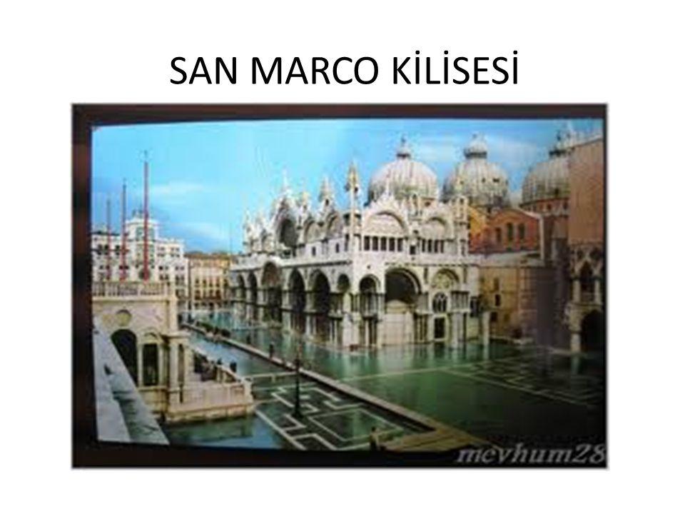 San Marco bir Bizans kilisesidir.Cumhuriyetin devlet kilisesi olan kilise 1063 ve 1073 yılları arasında Avrupa ve Bizans karışımı bir tarzda inşa edilmiştir.Rönesans döneminde ve 17.yy da bazı değişiklikler yapılmış olan kilisenin süslemeleri olağanüstü derecede bol ve harikuladedir.
