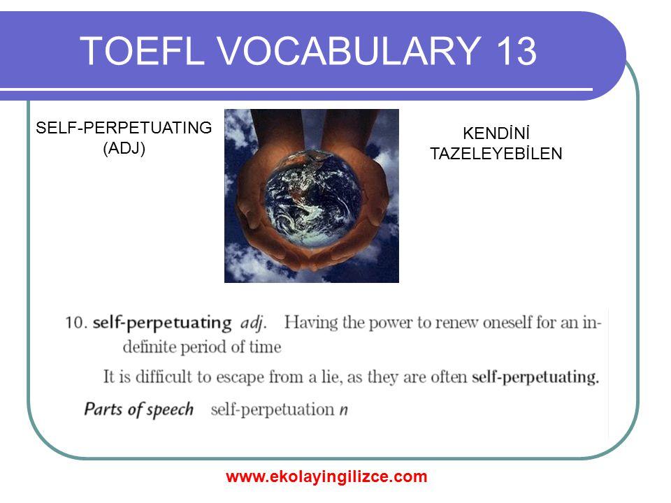 www.ekolayingilizce.com TOEFL VOCABULARY 13 SELF-PERPETUATING (ADJ) KENDİNİ TAZELEYEBİLEN