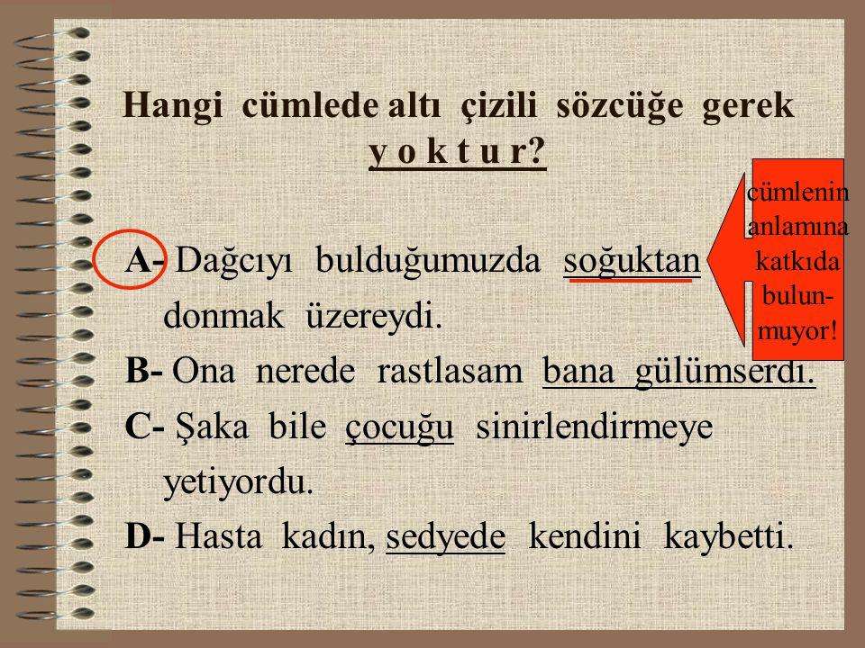 Hangi cümlede altı çizili sözcüğe gerek y o k t u r.